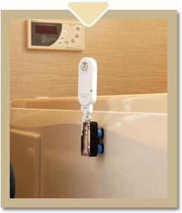 入浴前のお風呂場に除菌用品の設置